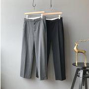 YUNOHAMI  新しいデザイン 韓国風 ファッション ハイウエスト 九分丈 バギーパンツ ストレートズボン