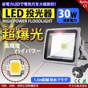 LED投光器 30W 昼光色 防雨プラグ付 1.5M配線 防水 長寿命 看板灯
