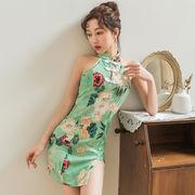 【即納】 緑 ホルターネック チャイナドレス  コスプレ衣装  【3222】