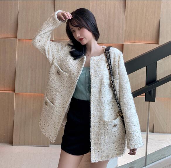 YUNOHAMIコートアウター 韓国ファッション 長袖 カーディガン ツイード カジュアル 秋冬即納 気質人気