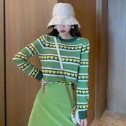 秋服 年 新しいデザイン 女性服 韓国風 アボカドグリーン ルース 着やせ ストライプニ