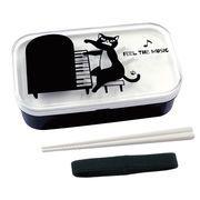 【ネコ/CAT(猫)】ランチボックス2段(箸付き) ネコ先生&ピアノ