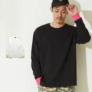 【2019秋冬新作】ネオンカラーリブ クルーネック ロングTシャツ メンズ