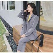 YUNOHAMI 韓国風 セットアップスーツ 長袖 スーツ+ 九分丈ズボン スラックス 高品質で カジュアル 秋冬
