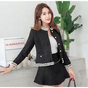 YUNOHAMI 韓国風 ツイードセットアップ  長袖 ショート アウター+短 Aラインスカート カットオフ 秋冬