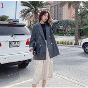 YUNOHAMI全3色 コートアウター  ボーダー柄 長袖 ダブルボタン 小さなスーツ 側スリット 気質 秋冬即納
