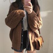 トップス ニット セーター カーディガン ゆったり 韓国ファッション レディース 学生