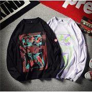 メンズ新作Tシャツ カットソー トップス カジュアル ブラック/パープル2色