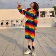 秋 新しいデザイン 韓国風 中長スタイル シャツ スカート 学生 ルース レインボースト