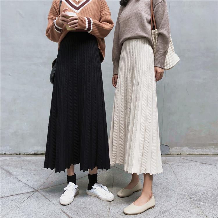 4色展開★ロングニットスカート マキシ丈 2019秋冬新作 韓国風プリーツスカート 上品