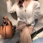 雑志で绍介されました  新品 減齢 秋冬物 ミンク 怠惰な風 セーター 百掛け ニット カーディガン