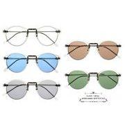 ★sunglasses&optical★  クリアフレーム  ボストン型  ライトカラ―レンズ  サングラス【全5色】