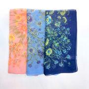 【スカーフ】【日本製】シルクシフォンハニーフラワー柄日本製小判スカーフ