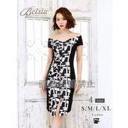 【Belsia】大きいサイズ完備!!膝丈モノトーン袖ありミニドレス【ベルシア】*504199