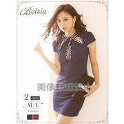【Belsia】sexyバストカットミニドレス 袖付きワンカラーキャバクラドレス【ベルシア】