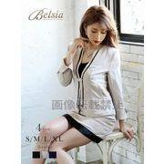 【Belsia】大きいサイズ完備!!ストライプノーカラー2Pスーツ【ベルシア】*504130