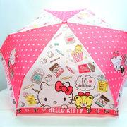 【雨傘】【ジュニア用】【折りたたみ傘】ハローキティスイーツ柄曲がり手付き折傘