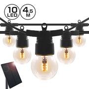 ソーラー ストリングライト 電球 イルミネーション ストレート LED10球 長さ4.5m 電球色 屋外用 防水 防雨