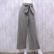 【秋・冬物パンツ】リボンベルト付き ワイドパンツ