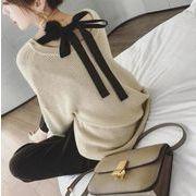 レディース★★春秋毛糸★優雅なセーター☆ニットウェア★Vネックゲートル上着蝶結び