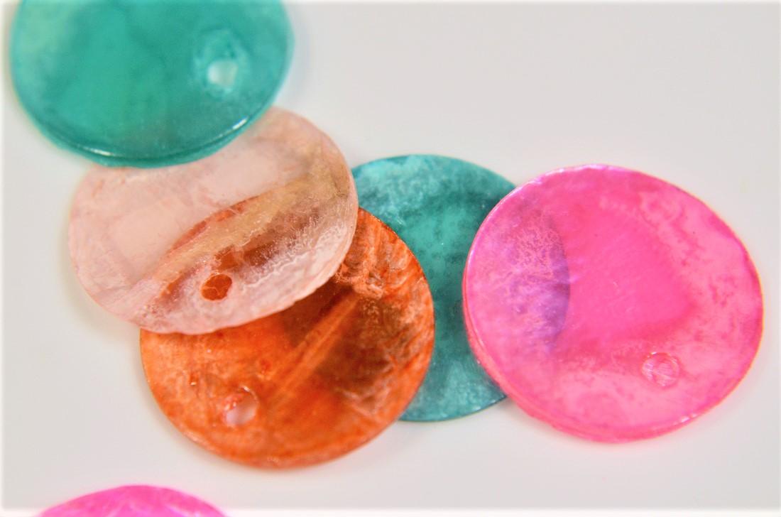 【夏アクセサリー】天然シェル加工パーツ シェルの染めパーツ トレンドパーツ アソートペアセット