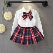 女の子チェック柄2点セット!リボン付きシャツ+スカート 入学式 入園式 卒園式 卒業式 結婚式 発表会