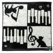 【ネコ/CAT(猫)】今治タオルハンカチ ネコ&ピアノ