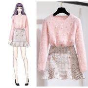 初秋新作!💗INS熱い販売  高品質💗 ビーズ セーター スカート  秋冬 小さい新鮮な  女性