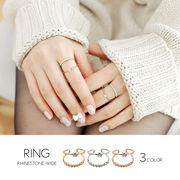 【即納】【リング】全2色!ラインストーン 2連ワイドリング指輪[kgf0559]