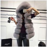 女性らしさ満点の魅力スタイルを! 秋 冬 模造キツネの毛皮 毛皮 コート  百掛け ゆったりする ベスト