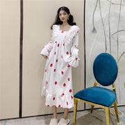 フランネル フリル ナイトドレス 年 秋と冬 新しいデザイン 女性 韓国風 トラックスー