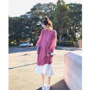 韓国ファッション大きいサイズ ゆったりする スリム ニットトップ サスペンダースカート ツーピース セット