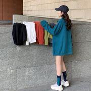 ネット レッド 長袖シャツ 秋服 新しいデザイン 韓国風 ルース 中長スタイル ヘッジ