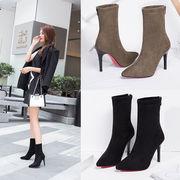 2色ハイヒール ヒント ブーツ 息子 細いヒール ハイヒール ブラックスエード ストレッチブ靴
