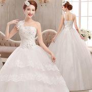 ウェディングドレス ロングドレス 編み上げタイプ シングル肩 ビスチェ 花嫁 妊婦