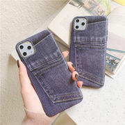 iPhone11/iPhone11ProMaxケース デニム スマホケース 携帯カバー