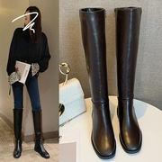 冬 新しいデザイン 欧米 ロングブーツ ファッション 太いヒール ローヒール ブーツ サ