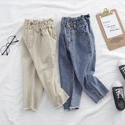 デニムパンツ パンツ ジーンズ 女の子 90-140 子供服 キッズ服 カジュアル ロング