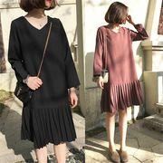 韓国ファッションCHIC気質新しい緩いプリーツスカートVネック長袖ドレス