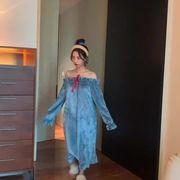 秋と冬 新しいデザイン 女性服 ふわふわ 中長スタイル 手厚い 暖かい ナイトドレス 韓