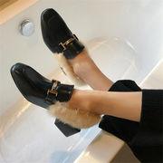 【待望の再入荷です】毛皮靴/厚手のヒール/レトロ/トレンド/プラスベルベット/シングルシューズ