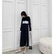新品 トランペットスリーブ プリーツドレス ロングスカート 気質 女性