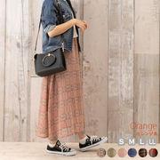 チェック ロングスカート プルオン 総ゴム シフォン レイヤード  透け感 大きいサイズ
