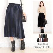 ウエストゴムプリーツスカート 韓国 ファッション レディース ゆったり かわいい【A/W】【vl-5315】