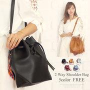2way巾着ショルダーバッグ韓国ファッションレディース大容量持ちやすい肩掛けシンプル【vl-5215】