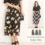 シースルーガウチョパンツ 韓国 ファッション レディース ボトムス ゆったり【vl-5200】【S/S】