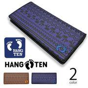 全2色 HANG TEN ハンテン PUレザー ハワイアン模様デザイン型押し 2つ折り 長財布 ロングウォレット