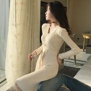 女性服 新しいデザイン ファッション ヒップカバースカート 気質 着やせ 襟 ハイウエス