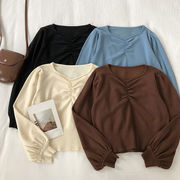 折り畳む ランタンスリーブ 短いスタイル ニット 女 秋冬 新しいデザイン 韓国風 味