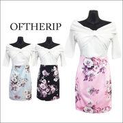 袖付きオフショル花柄ドレス